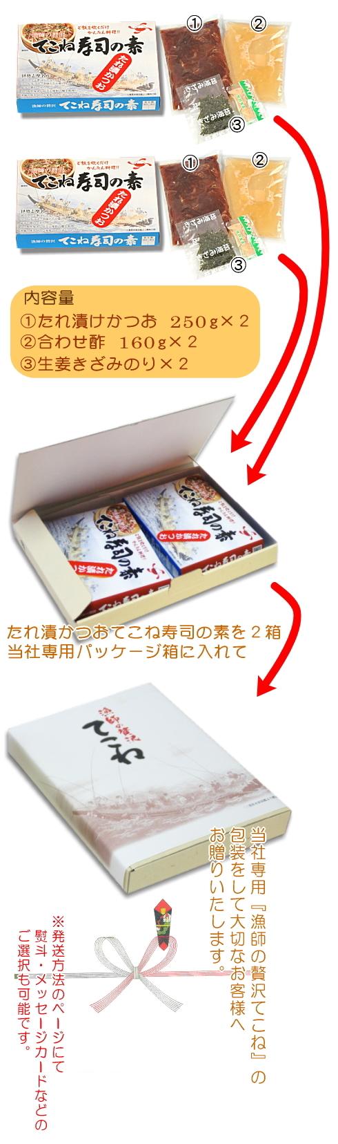 たれ漬かつおてこね寿司の素詰合せ(10人前用)